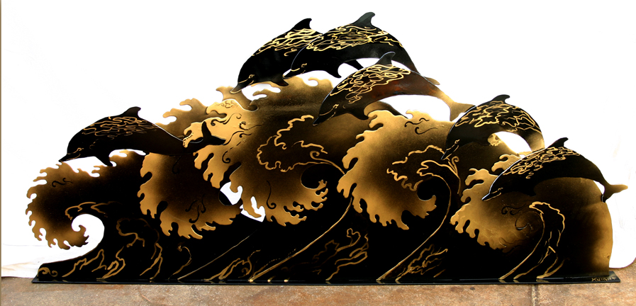Black Gold Dolphin Waves  52