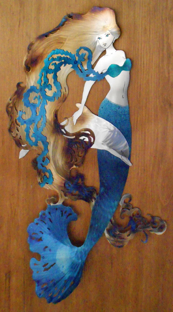 Blue Mermaid with Dolphin