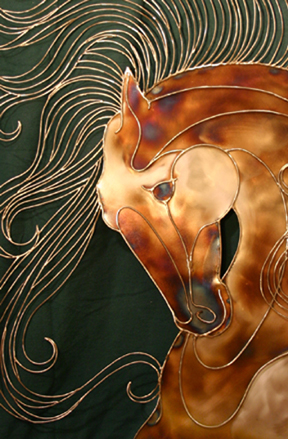 Golden aspects of the Stallion under indoor lighting.