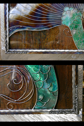 Exciting corner details showing the welded designs fanning from each point.