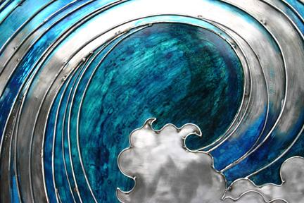 Dynamic blue patina inside 'curl'.