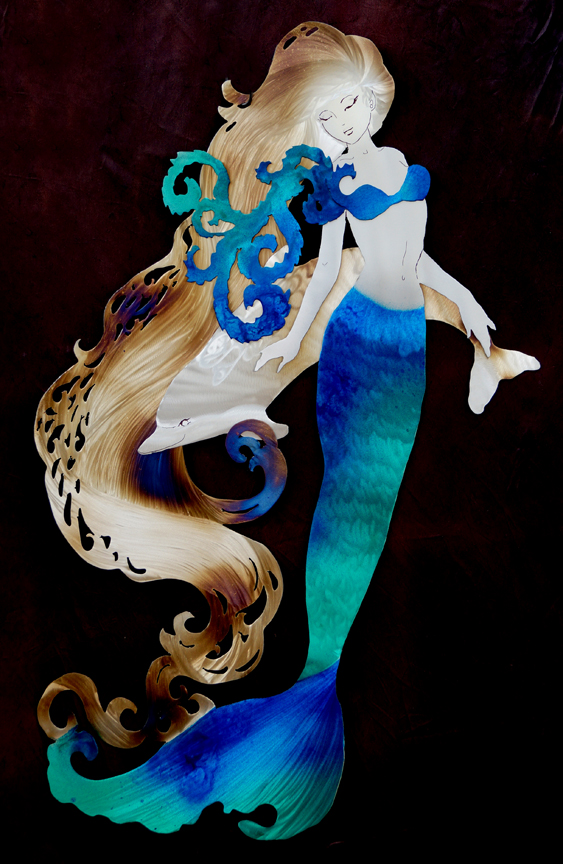 Mermaid with shy Dolphin