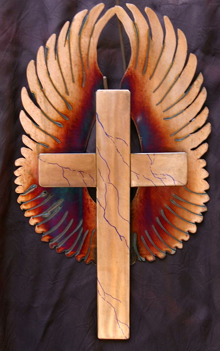 Flame colored cross with marbling