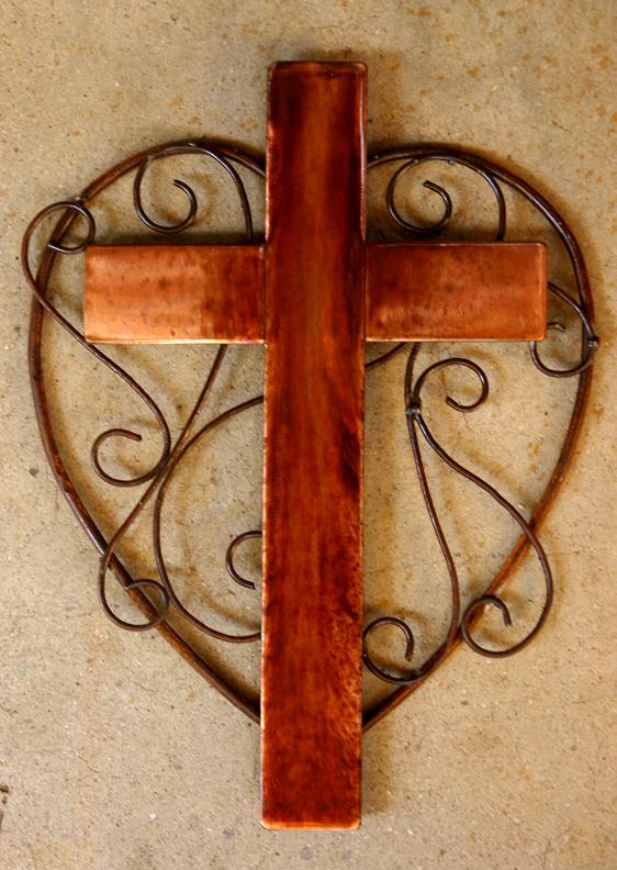 copper Heart Cross