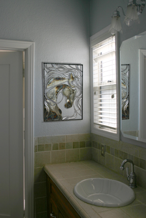 Because this piece is relatively smaller, it's placement can be most unexpected and delightful. Here is an EXAMPLE of it lending charm to a bathroom setting.