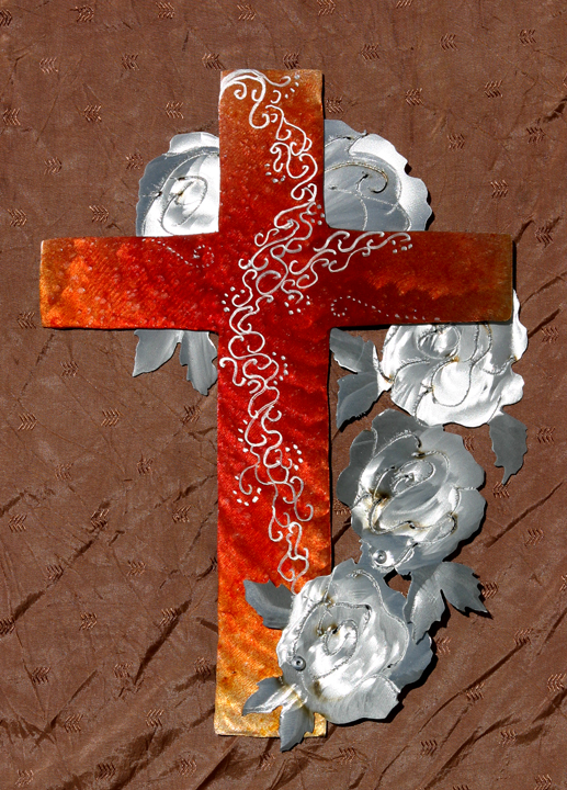 Decoratively etched Red cross