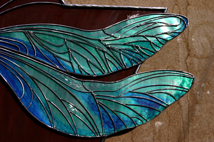 Closer look at the light catching wings...