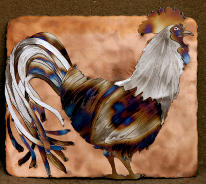 Copper background rooster