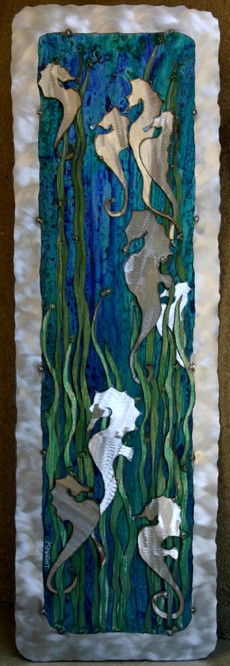 seahorses with silver border 32