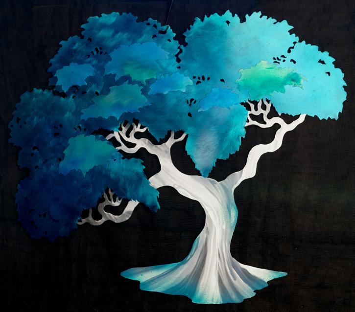 Teal layered tree